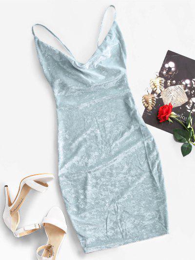 Cowl Front Velvet Bodycon Dress - Baby Blue L