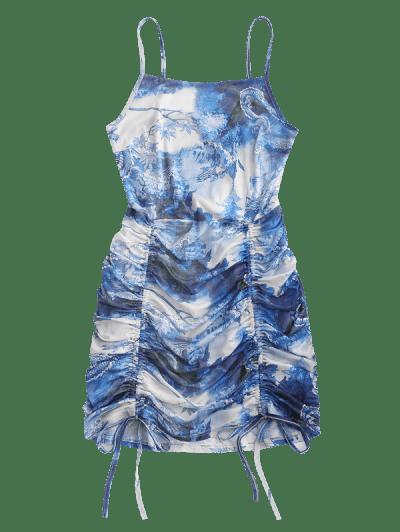 Mesh Dragon Print Ruched Oriental Cami Dress