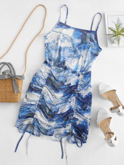 Mesh Dragon Print Ruched Oriental Cami Dress - Sky Blue S