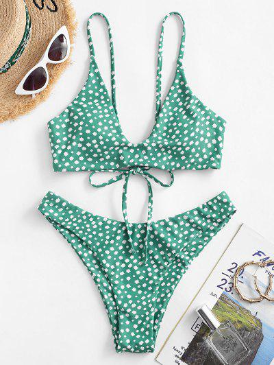 ZAFUL Tiny Floral Lace Up Bikini Swimwear - Green L