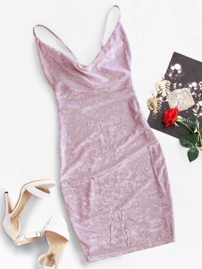 Cowl Front Velvet Bodycon Dress - Wisteria Purple M