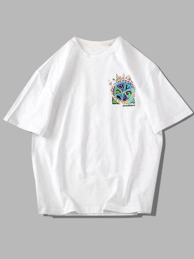 T-shirt Gráfico De Manga Curta De Pintura - Branco 3xl