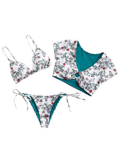 ZAFUL Floral Ring Reversible Three Piece Swimsuit