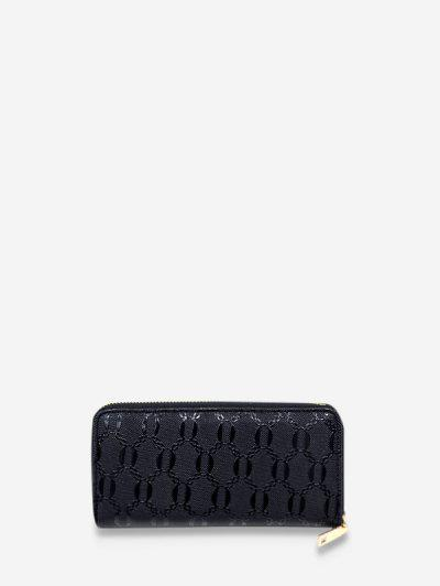 Chain Embossed Leather Long Clutch Wallet - Black