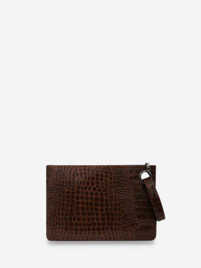Animal Embossed Leather Wrist Clutch Wallet - Mocha