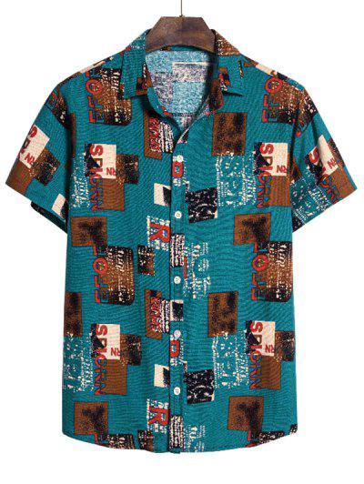 Camisa Manga Corta Diseño Impreso Geo Estilo Vintage - Multicolor M
