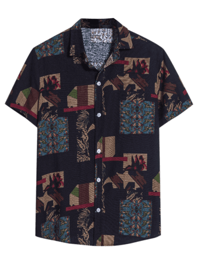 Irregular Geo Print Ethnic Button Up Short Sleeve Shirt