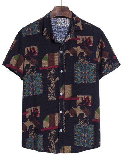 Irregular Geo Print Ethnic Button Up Short Sleeve Shirt - Multi-a L
