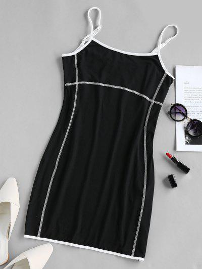 ZAFUL Stitching Mini Bodycon  Dress - Black Xl