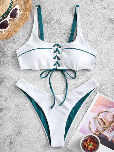 ZAFUL Binding Lace Up High Cut Bikini Swimsuit - Greenish Blue L