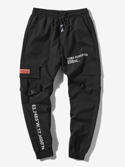 Letter Print Flap Pockets Cargo Jogger Pants - Black M