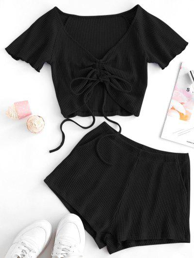 Textured Cinched Raglan Sleeve Loose Shorts Set - Black M