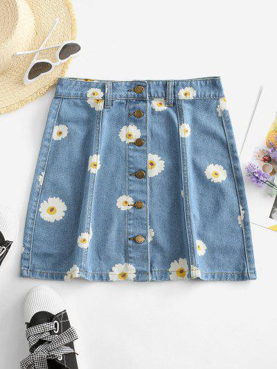 Button Up Daisy Print Denim Skirt - Denim Blue M