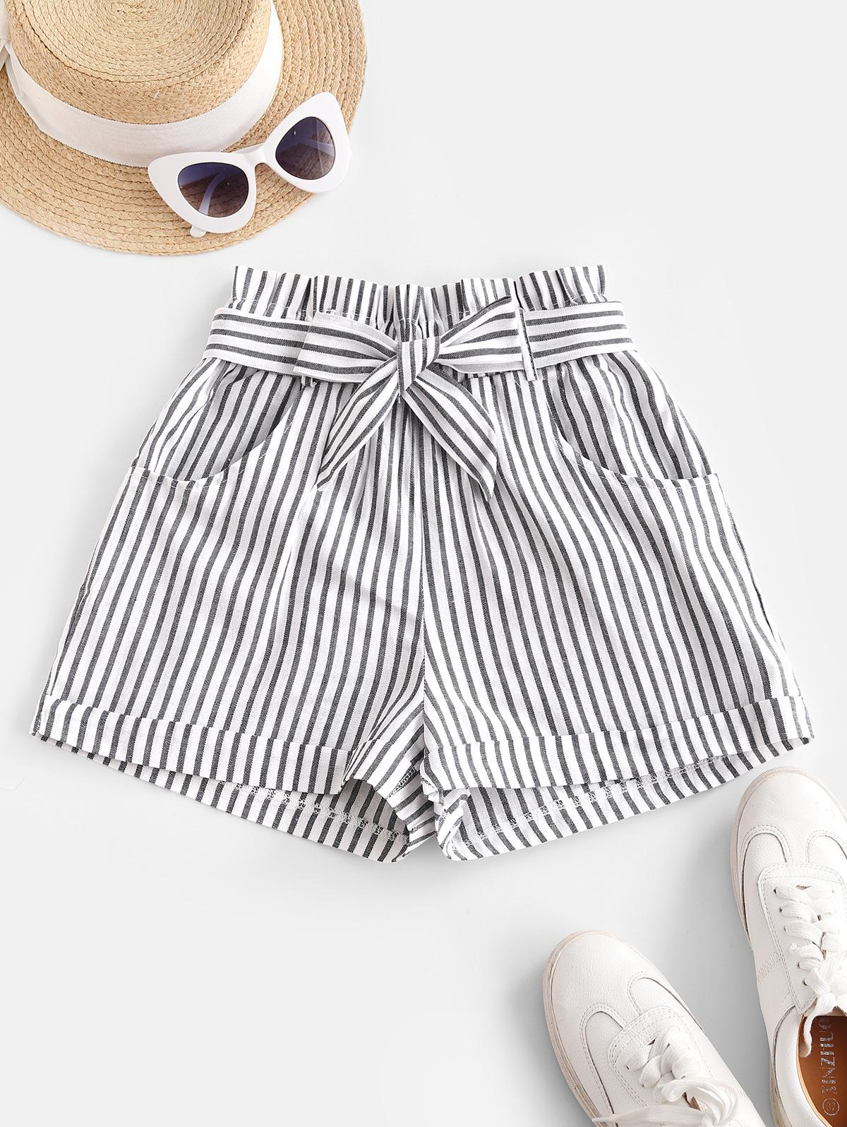 Vertical Striped Cuffed Paperbag Shorts