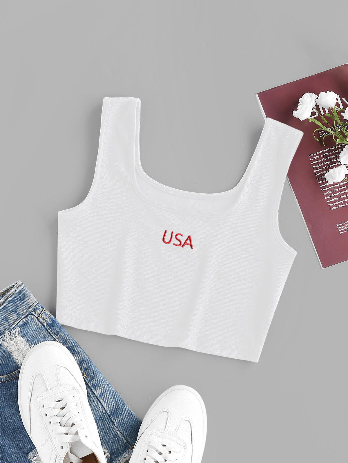 ZAFUL USA Embroidered Ribbed Crop Tank Top