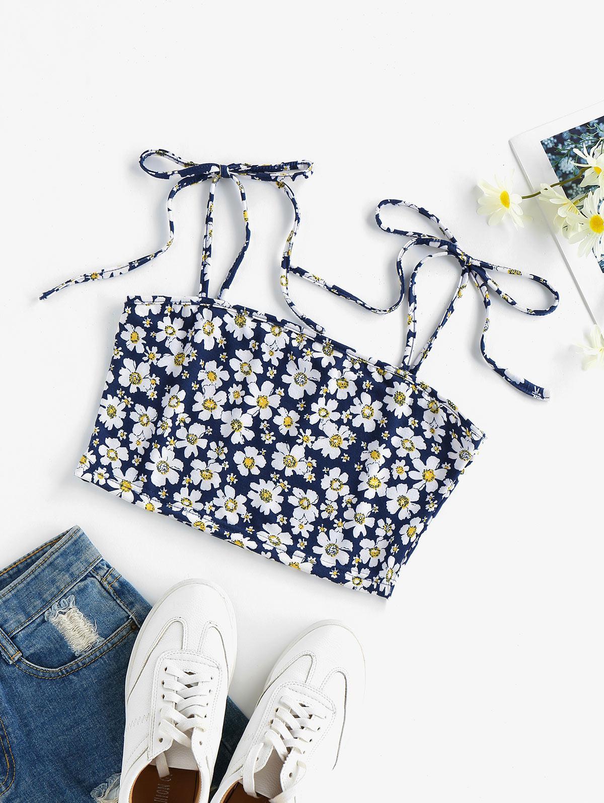 ZAFUL Flower Tie Shoulder Crop Camisole