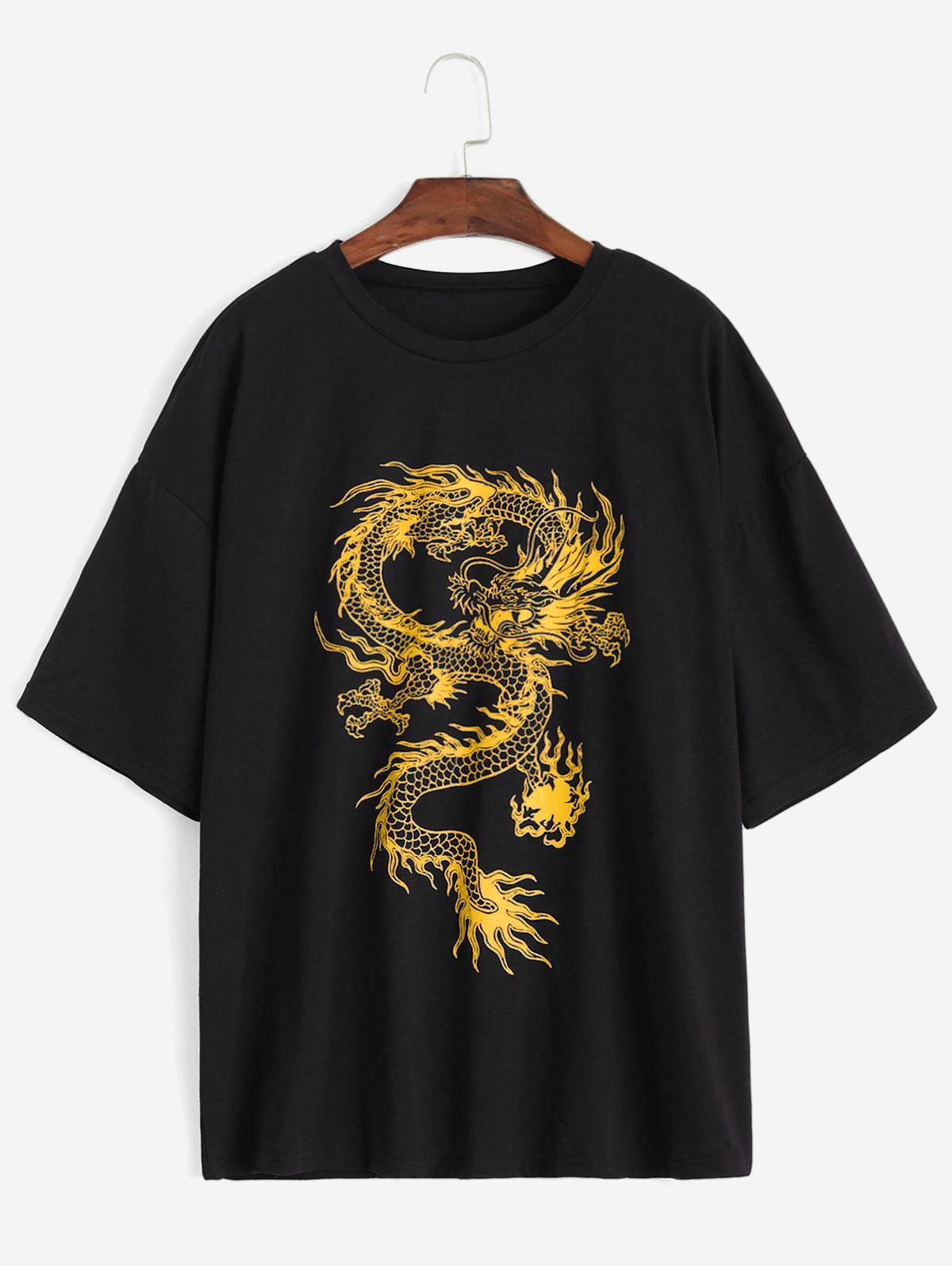 Dragon Print Round Neck Short Sleeves Tee