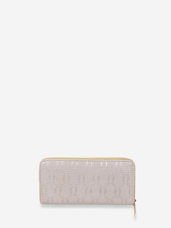 Chain Embossed Leather Long Clutch Wallet