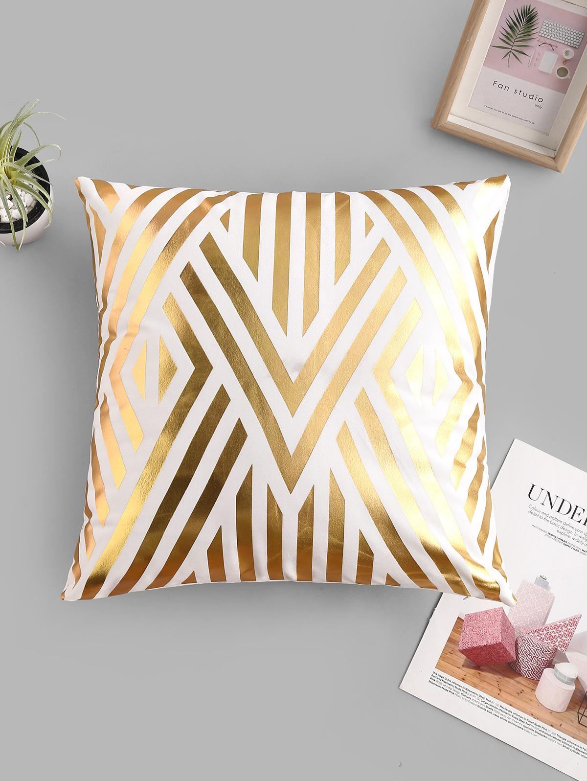 Geometric Leaf Bronzing Pattern Sofa Cushion Pillowcase