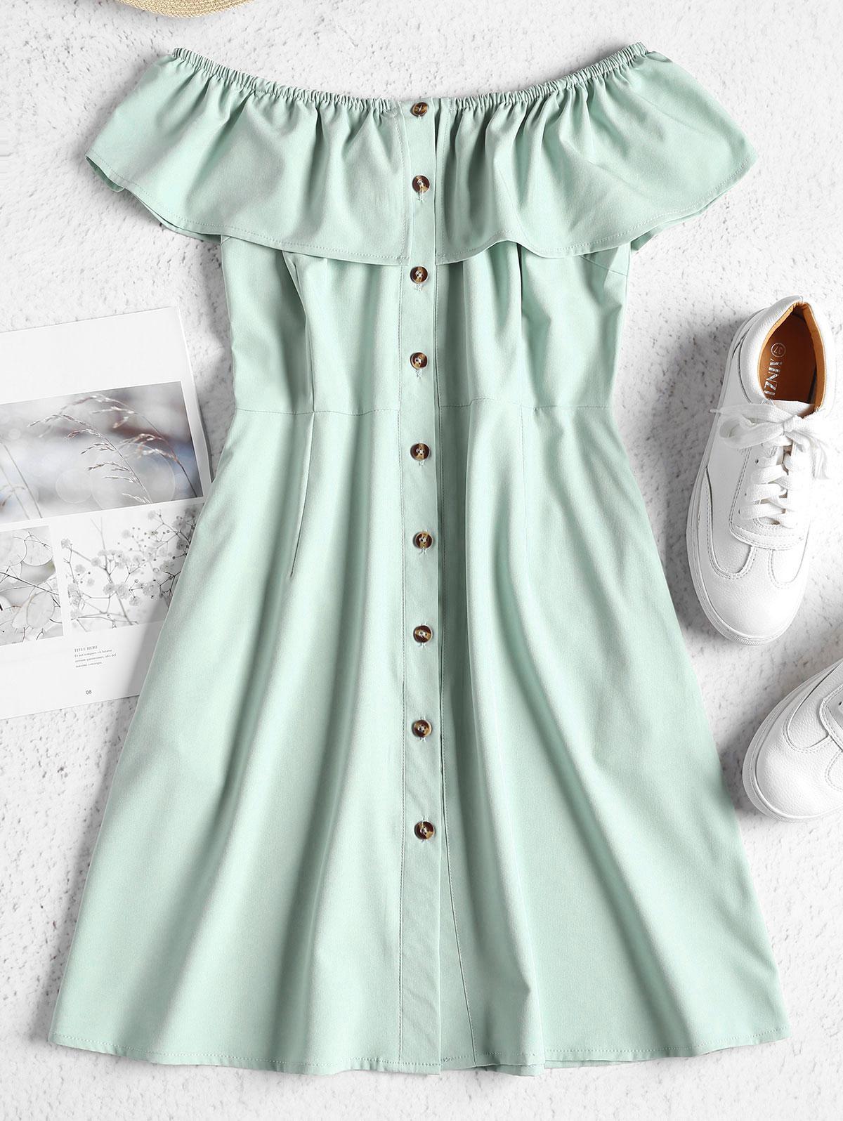 ZAFUL Off Shoulder Button Up Mini Dress