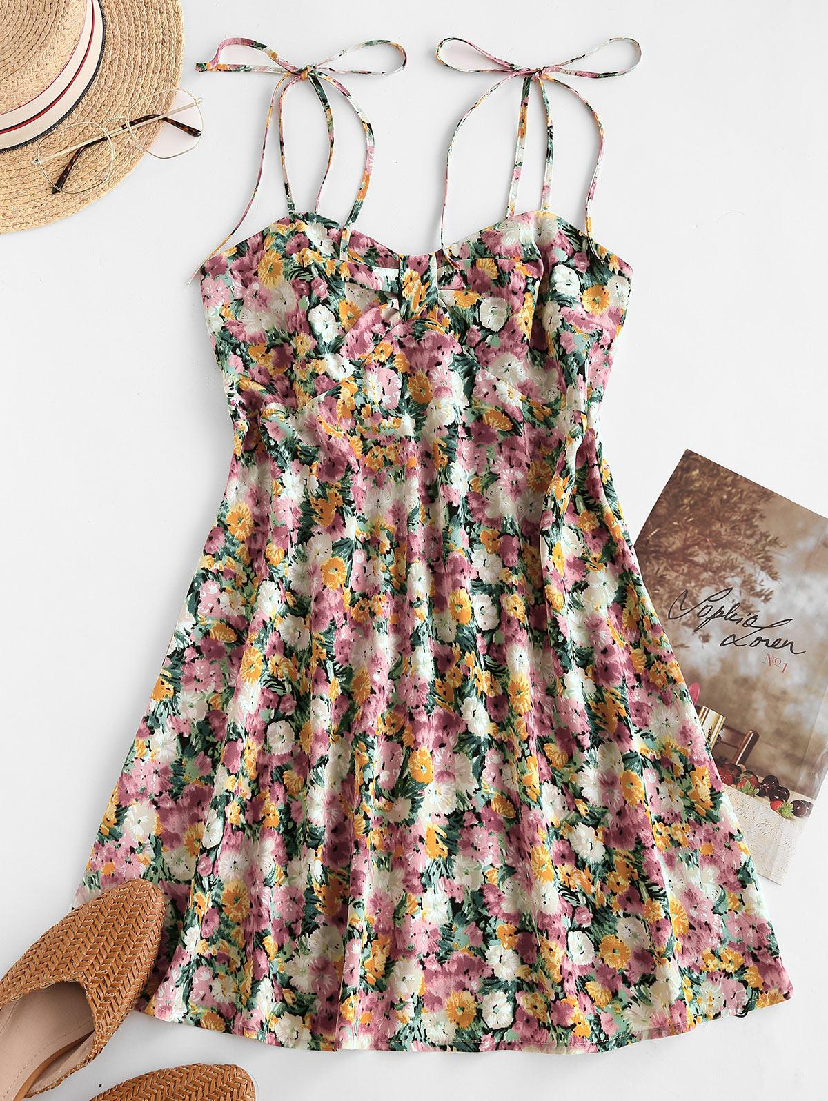 Floral Print Smocked Back Tie Strap Dress