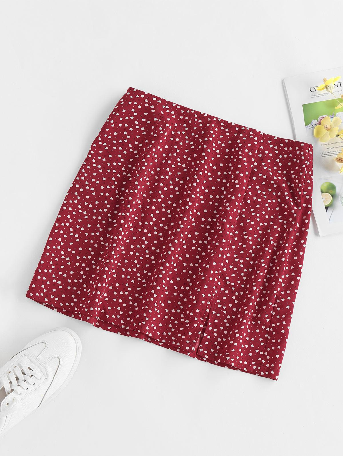 ZAFUL Heart Print Slit Mini Skirt