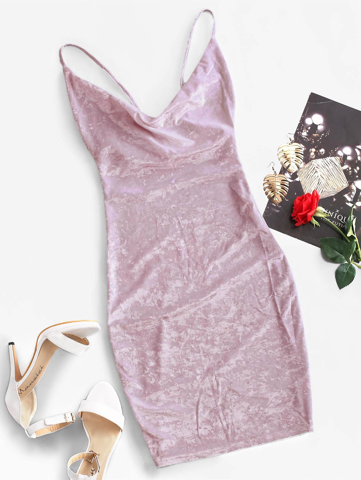 Cowl Front Velvet Bodycon Dress