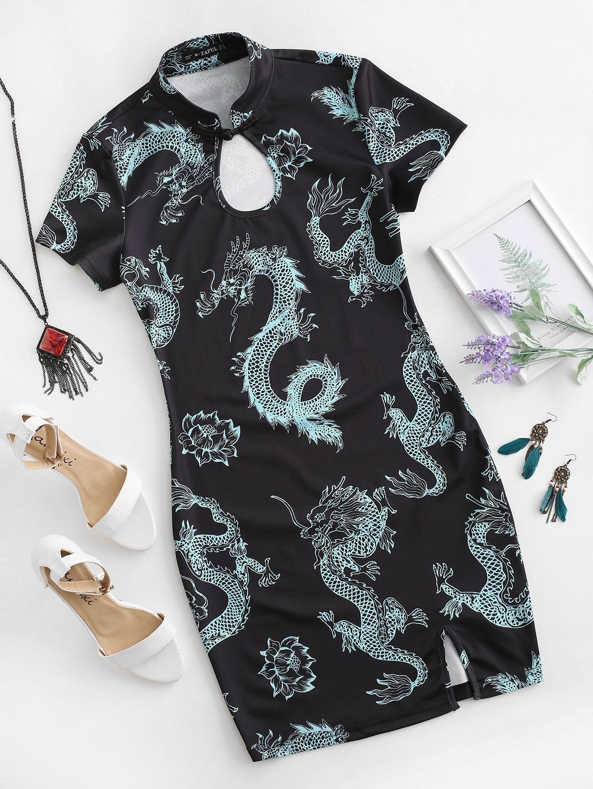ZAFUL Dragon Print Keyhole Slit Oriental Cheongsam Dress