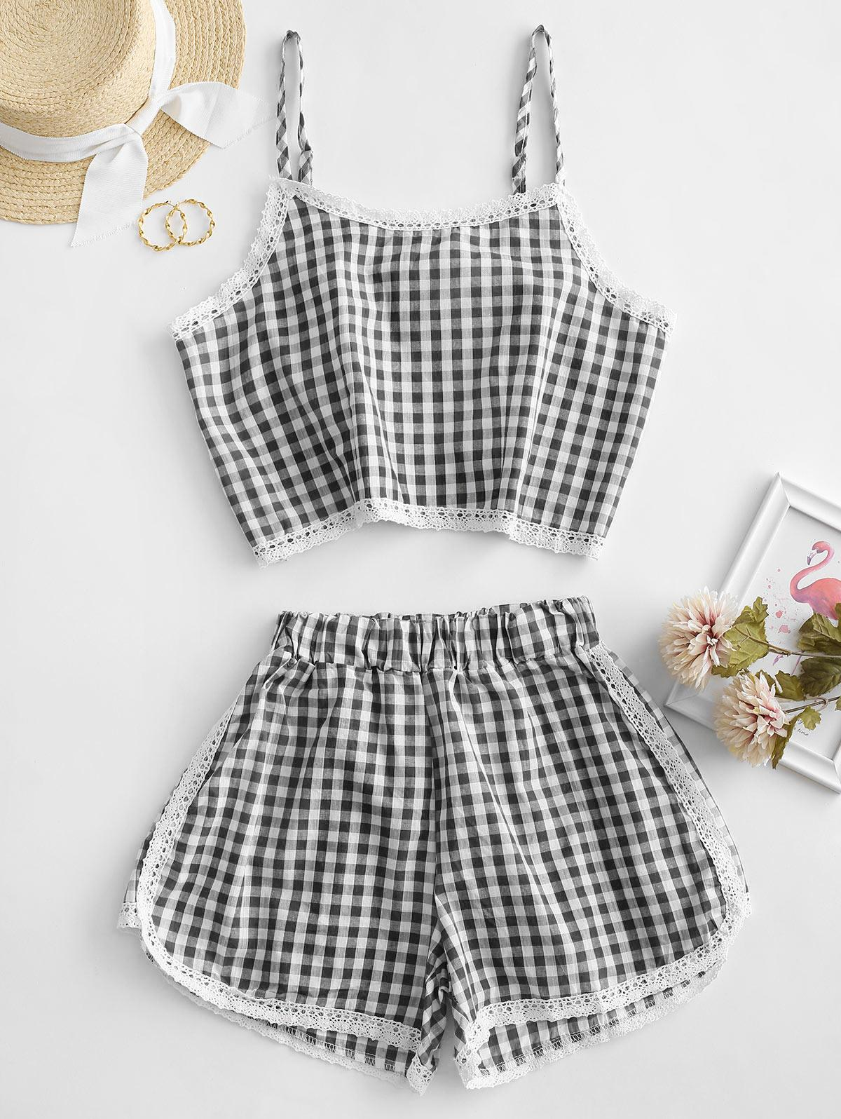 Gingham Lace Panel Cami Two Piece Suit
