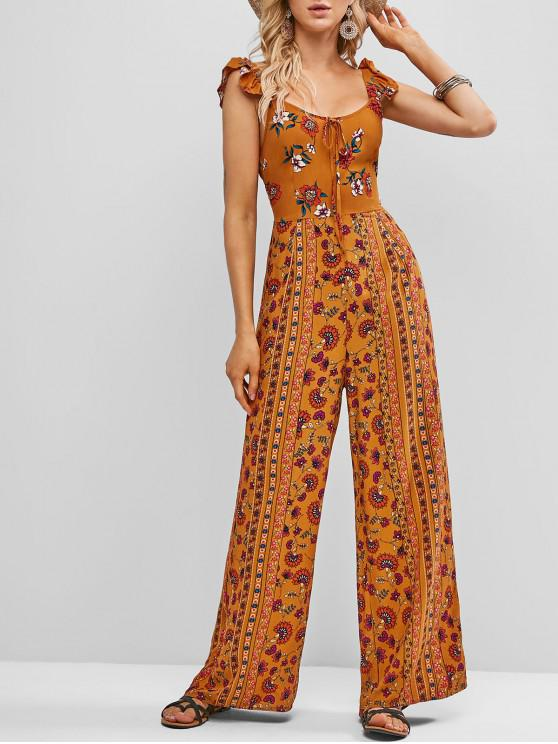 buy ZAFUL Tie Collar Ruffled Straps Floral Wide Leg Jumpsuit - TIGER ORANGE L