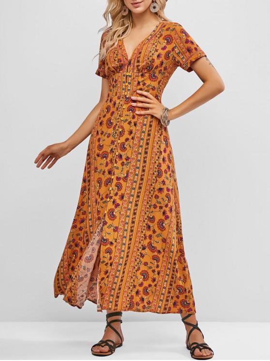 best ZAFUL Button Loop Floral Slit Maxi Dress - SANDY BROWN L