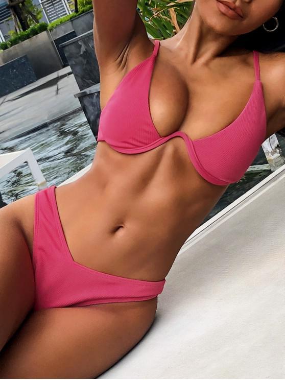 latest ZAFUL Ribbed High Leg Underwire Bikini Swimsuit - MEDIUM VIOLET RED M