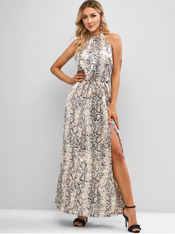 outfits Tie Back Snake Print High Slit Maxi Dress - MULTI-A L