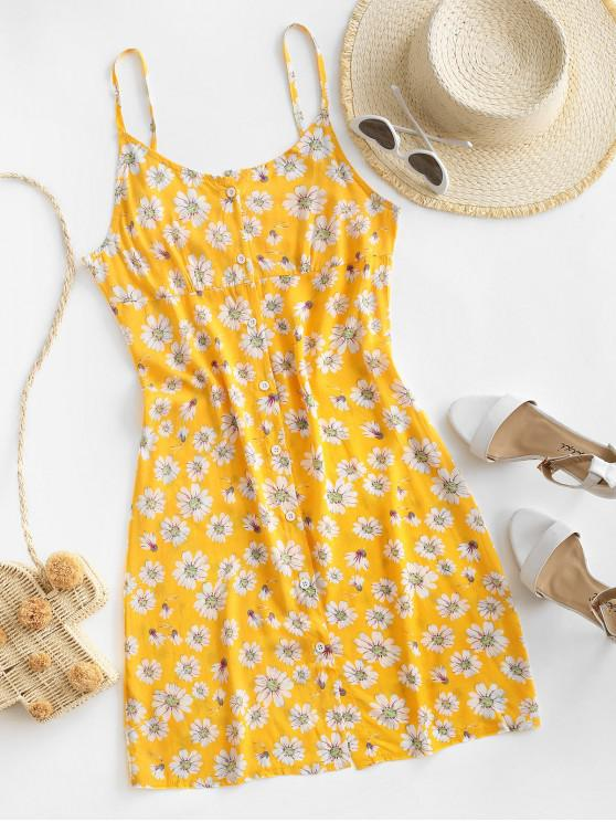 sale Daisy Floral Button Front Cami Sun Dress - BRIGHT YELLOW L