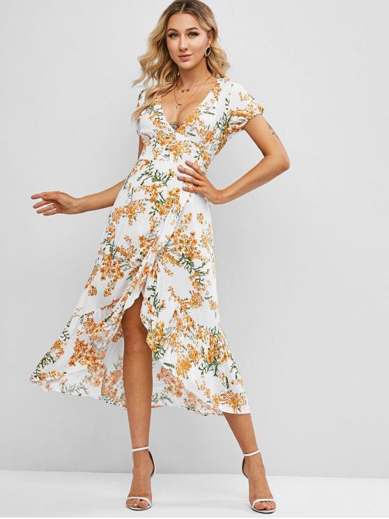 womens Floral Ruffles Overlap Midi Dress - WHITE XL