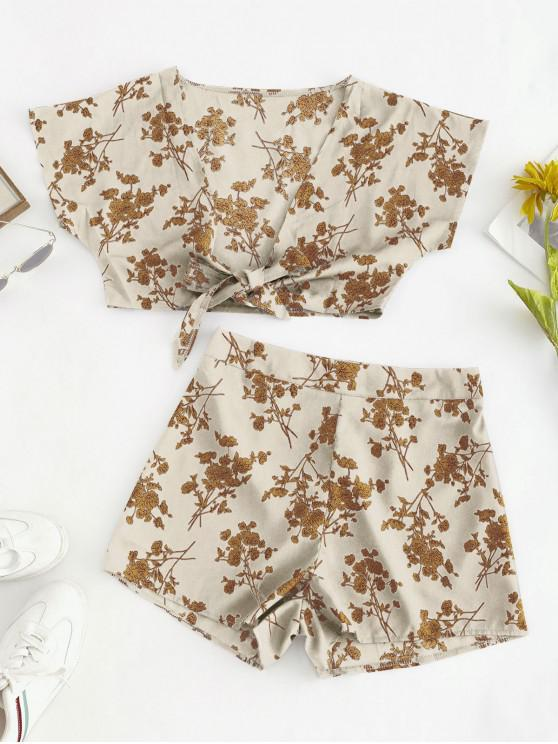 hot Flower Print Knotted Plunging Two Piece Set - WARM WHITE M