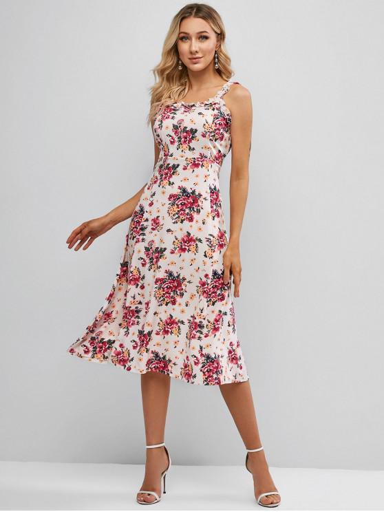 shops Floral Lettuce Trim Midi Dress - WHITE XL