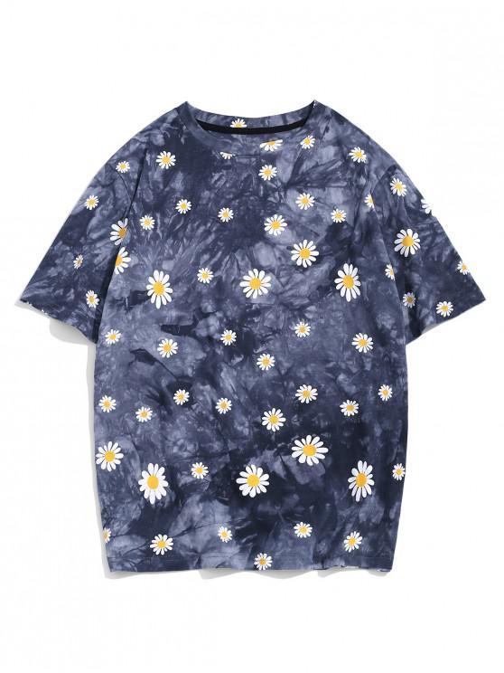 shop ZAFUL Daisy Tie Dye Short Sleeve T-shirt - MULTI-A 2XL