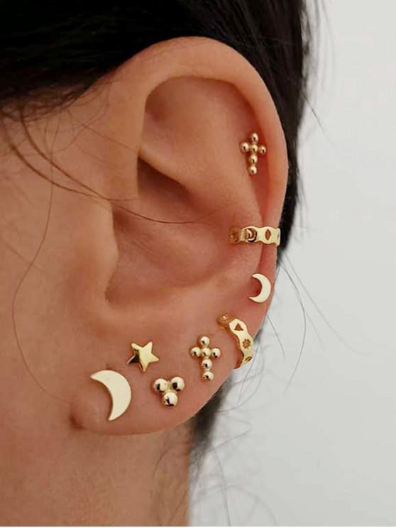 Star Moon Stud And Ear Cuff Earring Set - Auriu