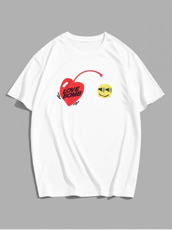 Camiseta de Cuello Redondo con Estampado de Corazón - Blanco 2XL