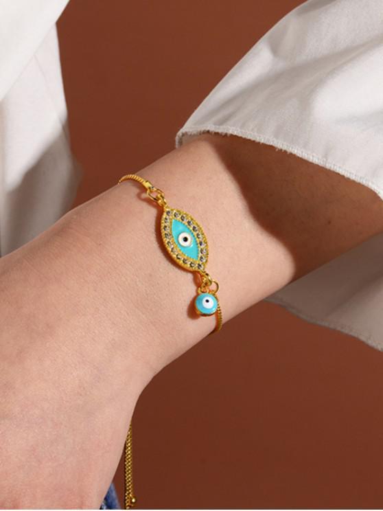 buy Rhinestone Evil Eye Adjustable Chain Bracelets - GOLD