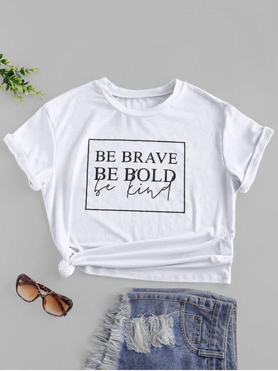 chic ZAFUL Slogan Graphic Short Sleeve Basic Tee - WHITE XL