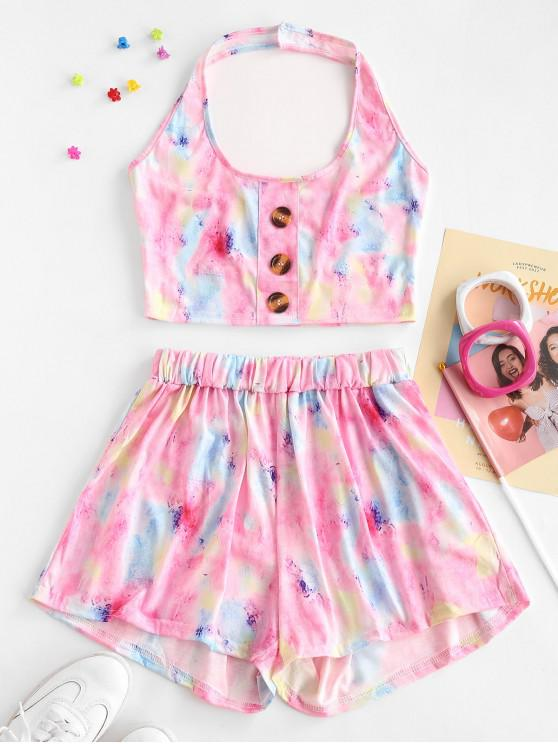 lady Tie Dye Print Halter Crop Top and Mini Shorts Set - PIG PINK L