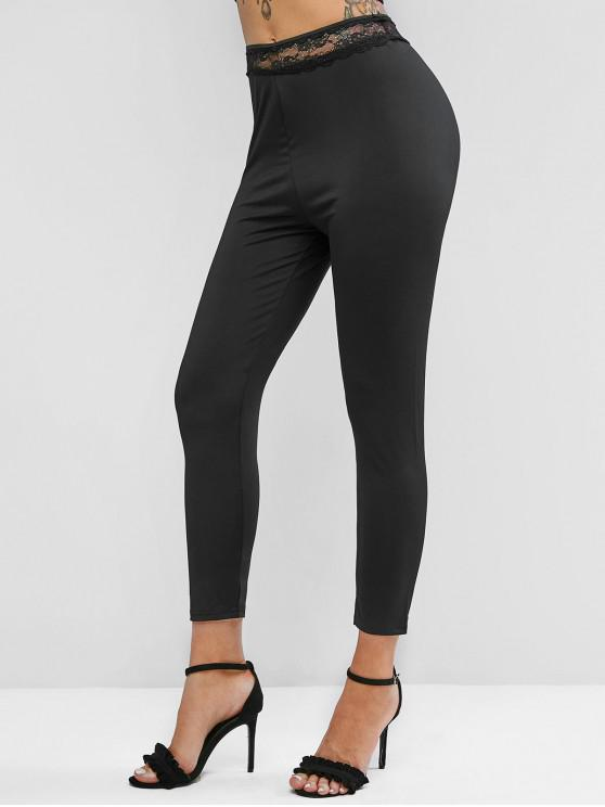 fashion Lace Insert High Waisted Skinny Leggings - BLACK S