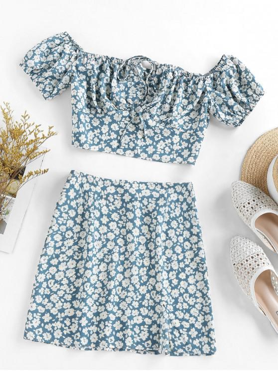 online ZAFUL Flower Print Bowknot Slit Keyhole Mini Skirt Set - BLUE GRAY S