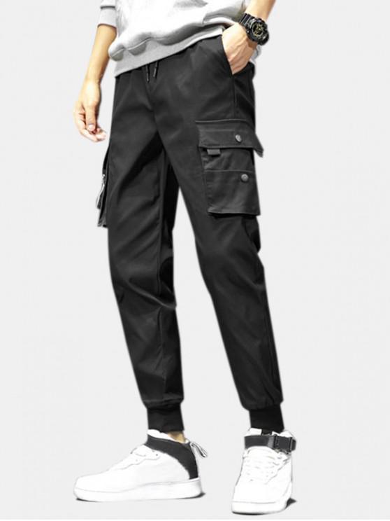 Pantalones Jogger de Cordón con Bolsillos de Solapa - Negro S