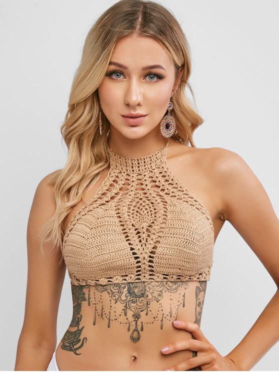 Halter Crochet Top - اصفر غامق مقاس واحد