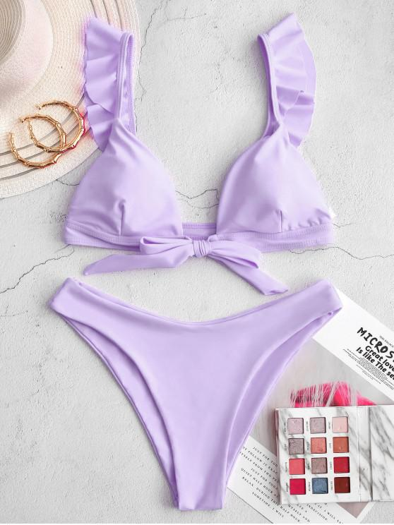 ZAFUL Neon Ruffled Nodul de mare Cut Bikini Costume de baie - lumina violet L
