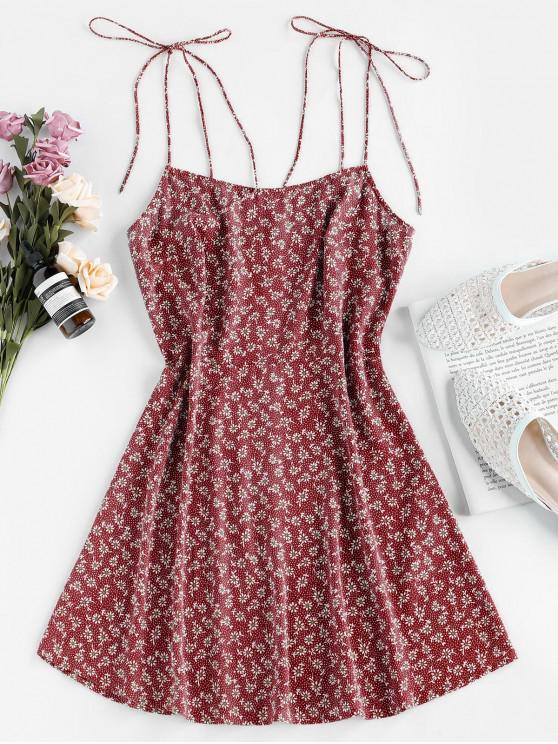 chic ZAFUL Tie Shoulder Ditsy Print Mini Dress - RED WINE S