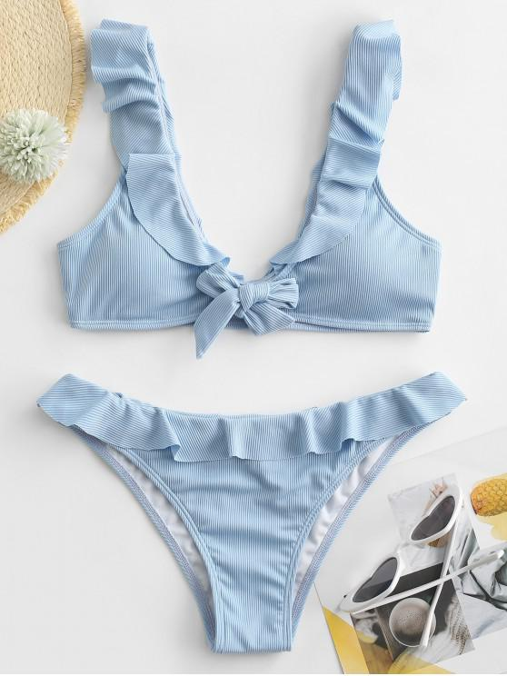 new ZAFUL Ribbed Ruffle Tie Front Bikini Swimwear - DENIM BLUE L